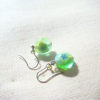 Grapefruit Forest Hand-glazed - Elegant - Shooting Green x Shallow Sea Blue Glass Earrings (Clip-changeable)