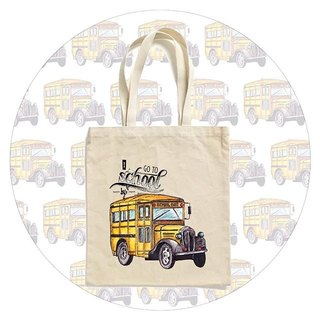 "BatearsWorld hand-painted handprint ""I go to school by bus"" portable / shoulder bag"