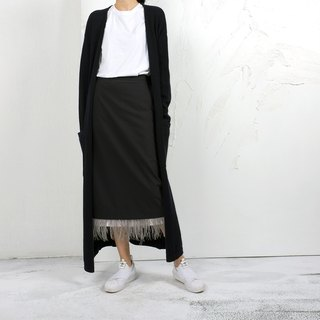 Gao fruit / GAOGUO original designer brand women's 2015 high waist skinny gray feather wild A-skirts