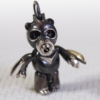 Shabon Lee silver designer toy jewellery figure - Bear Alliance - Cowboy Bear with gas mask and claws. Exclusive 925 sterling silver action figure necklace pendant.
