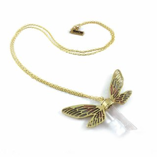 Brass Dragonfly wing pendant with clear raw quartz stone and enamel color