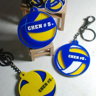 Volleyball keychain custom / dynamic basic models / engraved name [school name] + back number / Day / graduation gift