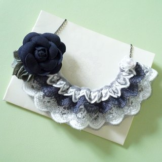 Dark purple blue lace mosaic camellia necklace [limited hand made]