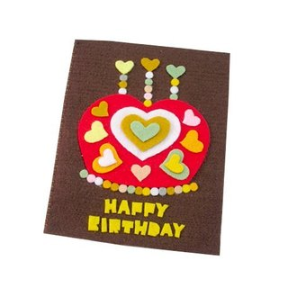 Handmade non-woven card _ Love Crown Cake Birthday Card E