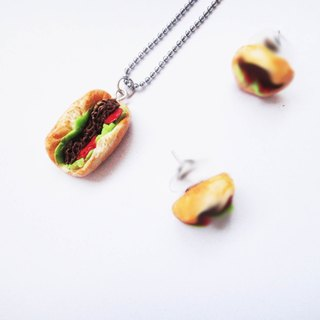 Sandwich hot dog necklace