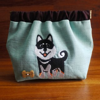 Shiba Inu Embroidery Shrapnel Gold Storage Bag Wallet Embroidered Chinese name Please note