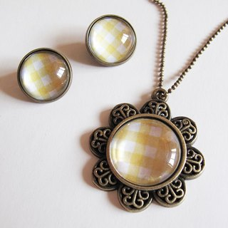 Yellow necklace Scottish pattern ear clip ear acupuncture group