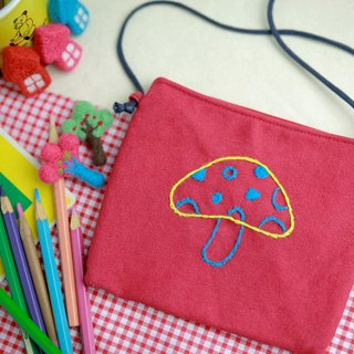 Magic mushroom / hand embroidery small square package