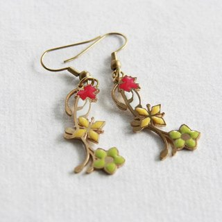 Colorful Flowers and Maple Leafs Earrings