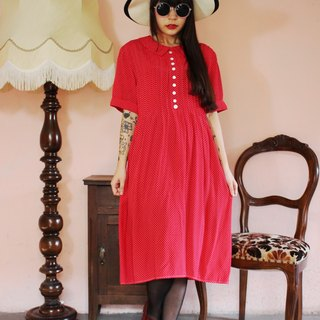 F1115 (Vintage) red delicate little white cotton short-sleeved vintage attached waist strap dress (wedding / picnic / party)