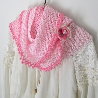 Pink Bunny - Hand-crocheted scarves circle (with pin)