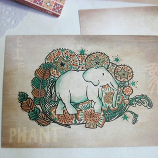 <Animals in the Secret Land> Elephant graffiti Postcards