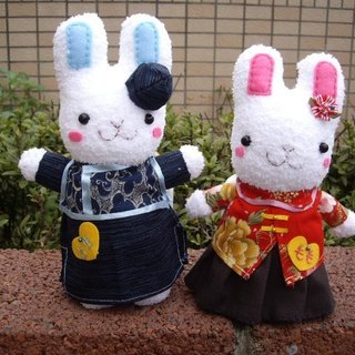 Cute rabbit Chinese wind wedding doll / a pair