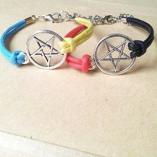 Bearded little star - two-color pentagram ★ wax rope bracelet