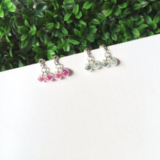 *Haku‧Neko*pink cherries mini glass ball earrings