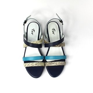 Blue minimalist low heel sandals