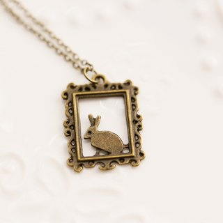 Rabbit side faces necklace