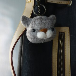 (Sheep wool felt music and more park) round face gray cat Charm