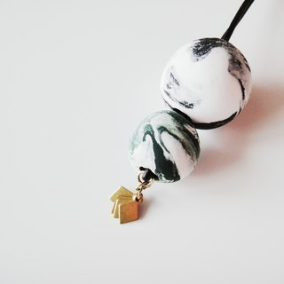 Marble Clay Necklace- green and black