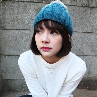 Handmade Hand Knit Wool Beanie Hat with Pompom Double Layer_Grey+Blue
