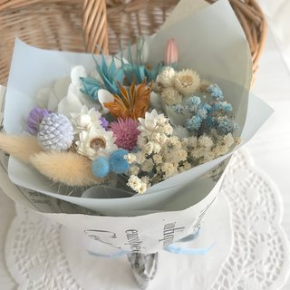Masako blue tone dry small bouquet birthday gift wedding props