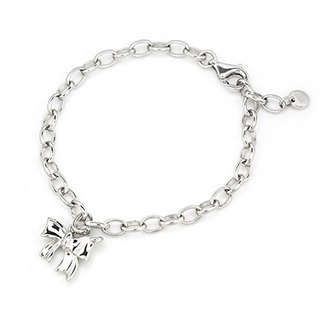 Hong Kong Design Bling Bling 925 Silver Platinum Plated Bow Bracelet