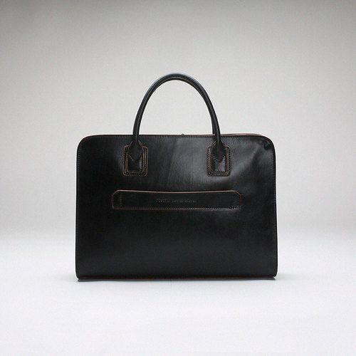Pure handmade Italian leather imported plant melted 13-inch laptop briefcase black official series • Bodhi said Fostyle