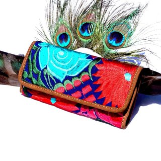 HANDMADE LEATHER & MAYAN FLORAL EMBROIDERY WALLET