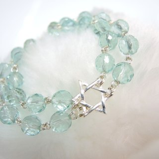 """Blue Star ice blue star"" bright hexagram layered sea blue glass bracelet"