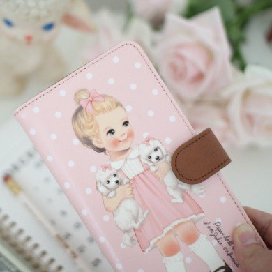 South Korea] [Afrocat paper doll mate flat wallet <Alice dot> Vintage doll long Wallet debit card bills coins