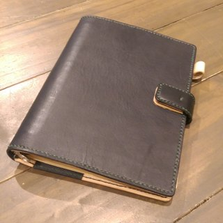 Handmade hand-dyed leather 20-hole loose-leaf notebook (free printing, embroidered words)