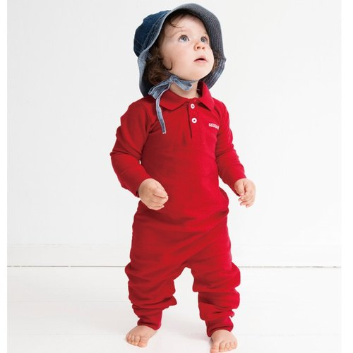 European infants and young children cotton ass fart jumpsuit red