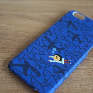 Ni Hao Im FiFi protect shark Series iPhone 6 / 6s protective shell iCare: Shark Safe | peaceful coexistence deep blue