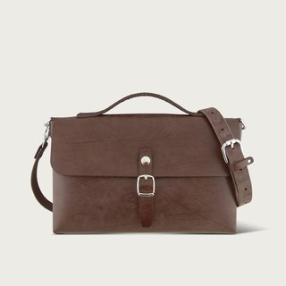 Single Button Small Bag / Side Backpack - Brown