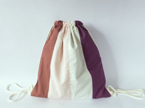 [Mi Sol little sun] - after the color stripe Drawstring Backpack - purple line