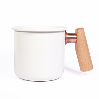 Wooden handle cup 400ml (moonlight white)