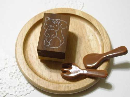 [Stock goods] handmade rubber stamp - Bow squirrel