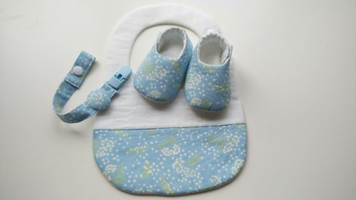 Births blue gift ~ Pu British public (Baby Shoes + pacifier clip + bibs)