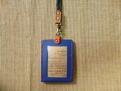POPO│ fashion blue orange │ MRT. Card Holder. Easy Card sets │ genuine leather