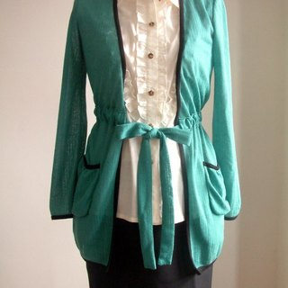 Green knit long-sleeved thin coat