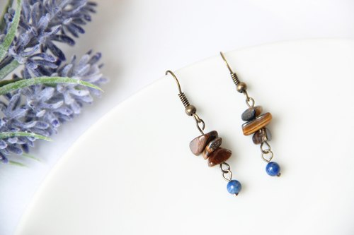 Retro nostalgia / mystery rattles - Tiger Eye stone texture natural lapis lazuli earrings