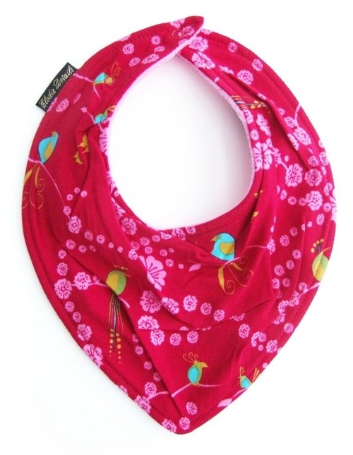 ELODIE DETAILS [Sweden] Nordic fashion scarf type organic cotton bibs bibs - colorful birds (Cherry Bird)