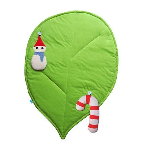 I love nature leaves Christmas candy cane organic cotton blanket + pillow + snowman _ exchanging gifts