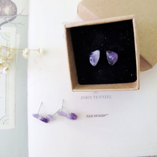 Orange Mu] [MUCHU original stone. Natural amethyst earrings (medical needle)