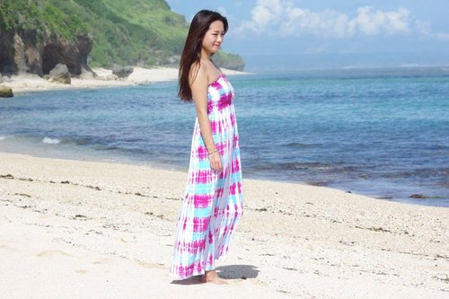 Beautiful color tie tube top long dress <Pink Blue>