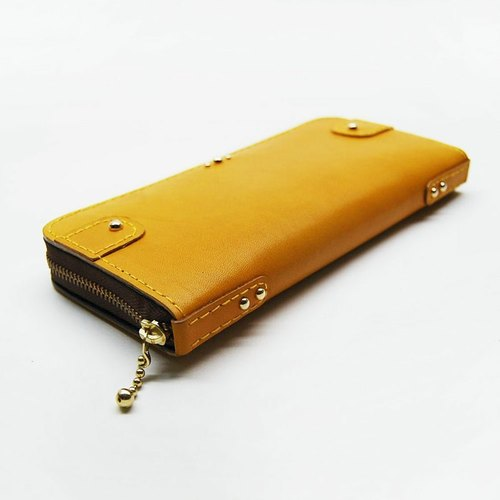 Yellow calf skin leather wallet