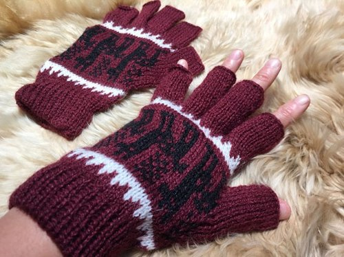 Alpaca wool gloves half finger walk - Crimson Black Sheep