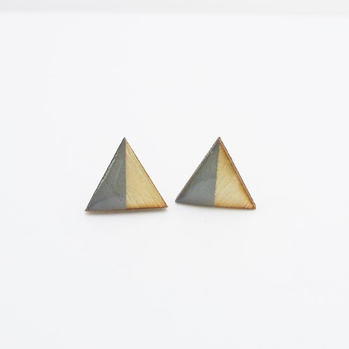Hand colored wooden blocks Triangle Earrings time - lime