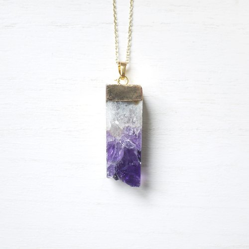 (Limited) Ting Health | amethyst stone gold plated necklace