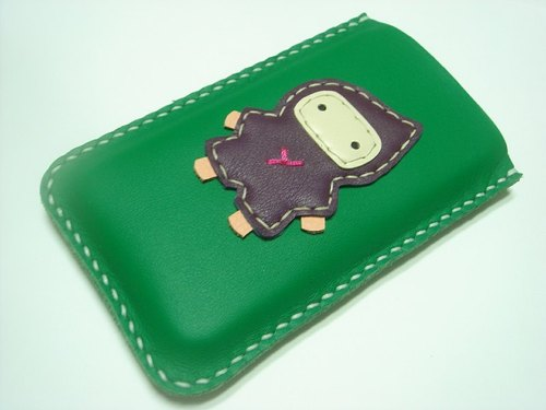 {Leatherprince 手工皮革} 台灣MIT 綠色 可愛 忍者 iPhone 純手工牛皮保護套 / Taka the Ninja iPhone leather case ( Green / Purple )
